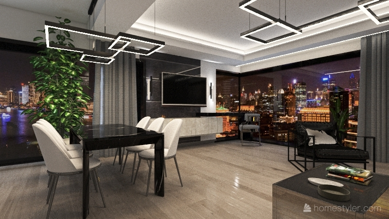 dark home Interior Design Render