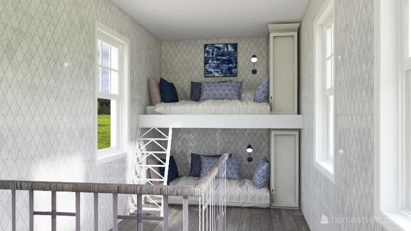 BLUE tiny house Interior Design Render