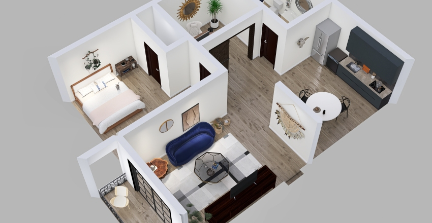 Young women's apartment Interior Design Render