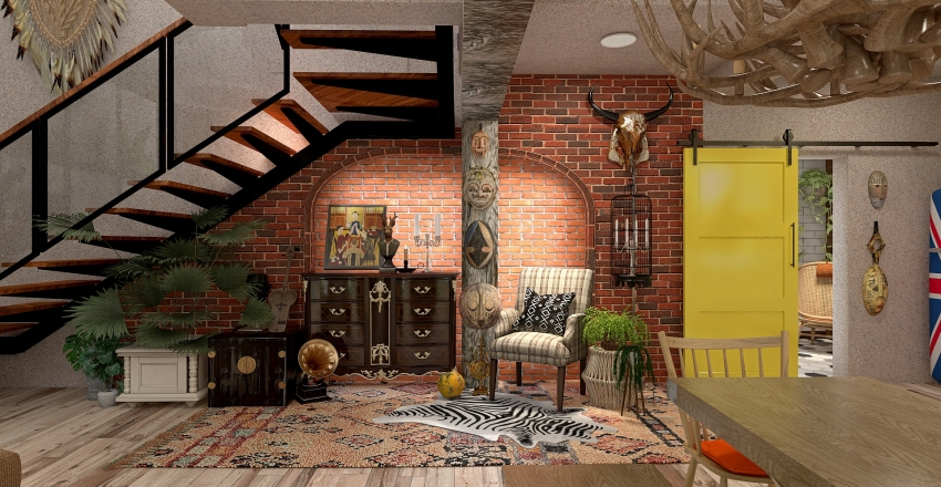 Bohemian Inspired  Bachelors House Interior Design Render