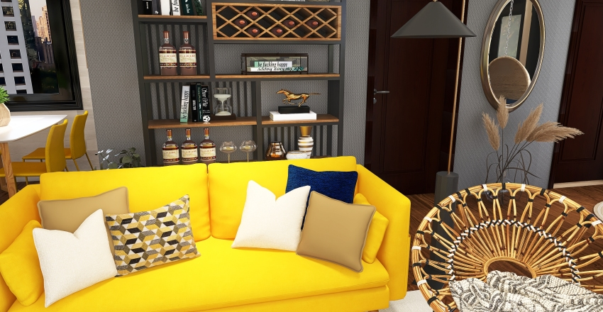 Yellow house Interior Design Render