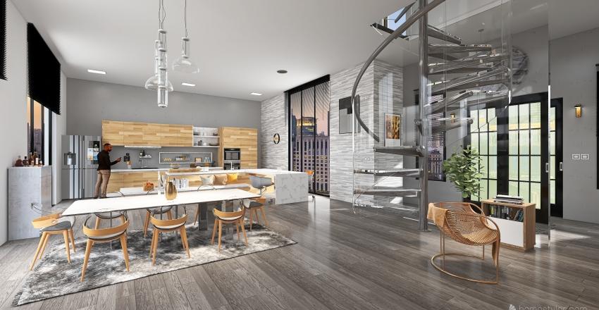 Duplex rooftop Interior Design Render