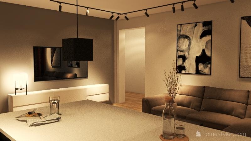 FLAT WITH BLACK KITCHEN AND ISLAND Interior Design Render