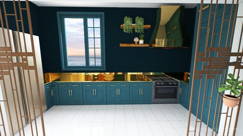 gold and blue Interior Design Render