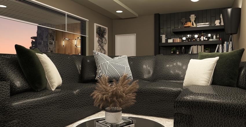 Dark-toned luxury apartment Interior Design Render