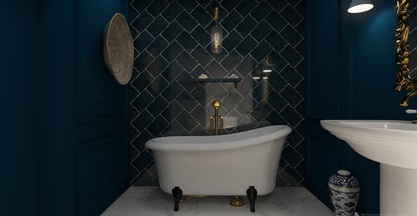 bathroom blue  Interior Design Render