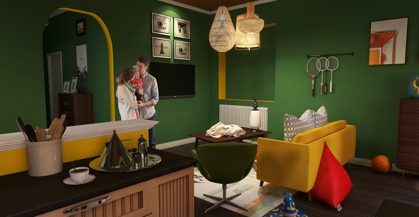 Green-Yellow Family Home Interior Design Render