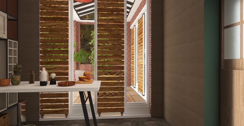 Red brick house in the country. Interior Design Render