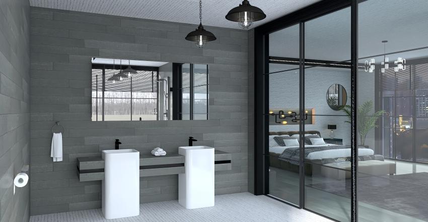 industrial bedroom en-suit design  Interior Design Render