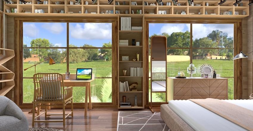 A Book Lover's Tiny Home Interior Design Render