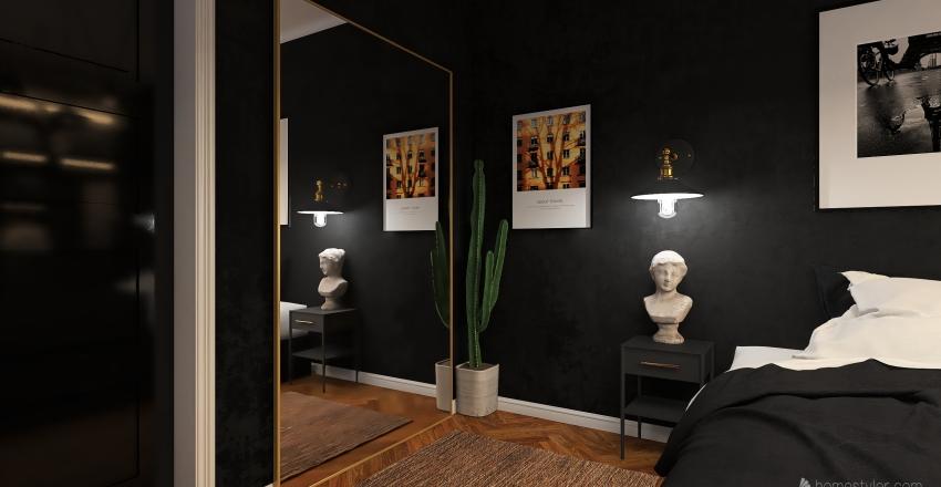Quarto com tons escuros  Interior Design Render