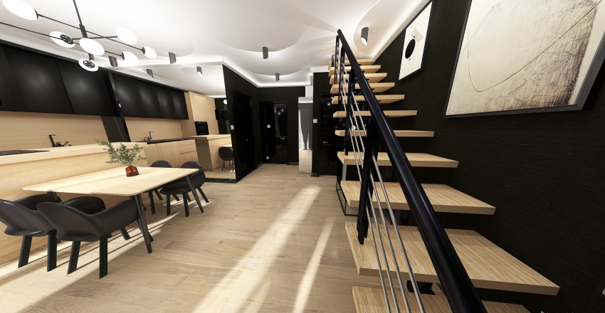 black&white flat Interior Design Render