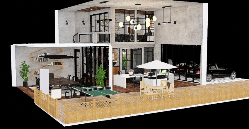 Site Office Interior Design Render