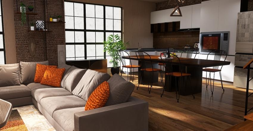 industrial vibes in earthy tones Interior Design Render