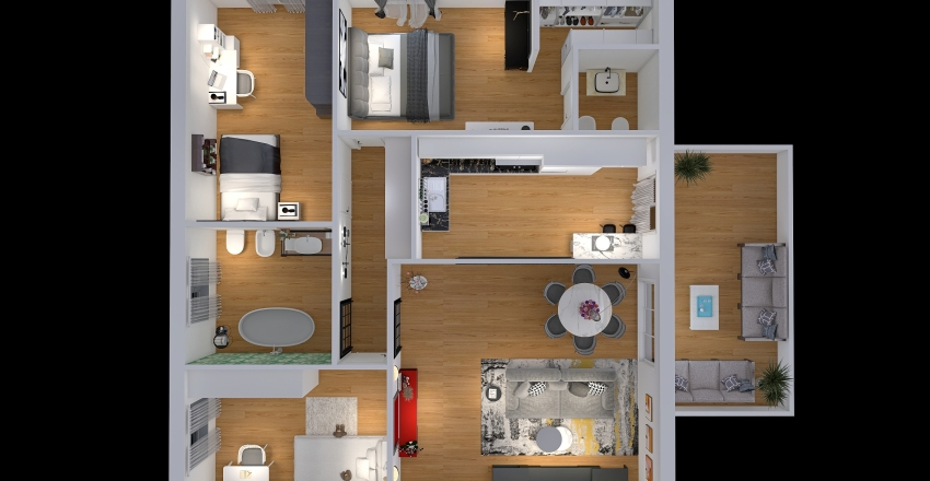 Quadrilocale con balcone  Interior Design Render