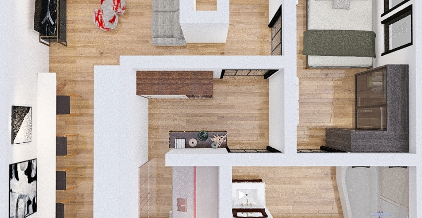 appartement 54 m2 Interior Design Render