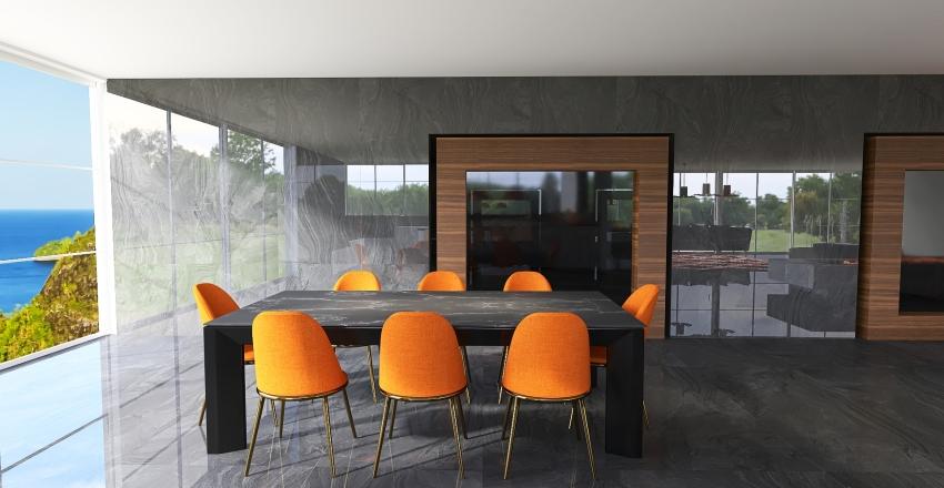 orange, black and white Interior Design Render