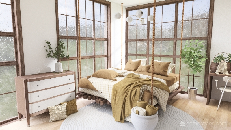 Nature Bedroom (No outdoor Desing) Interior Design Render