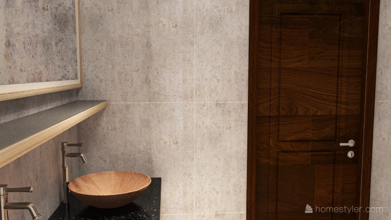 industrial earthy tone apartment Interior Design Render