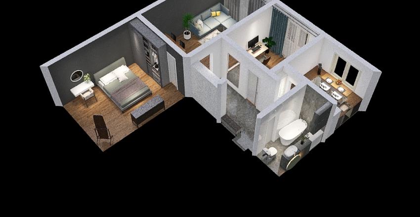 Separated bathroom Interior Design Render