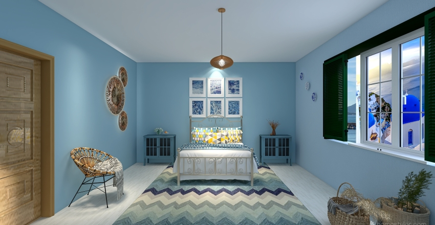 Mamma mia bedroom Interior Design Render