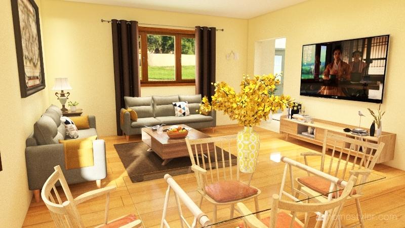 2-floor suburban Interior Design Render