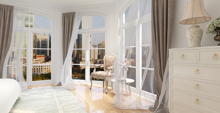 Modern French Style Bedroom Interior Design Render