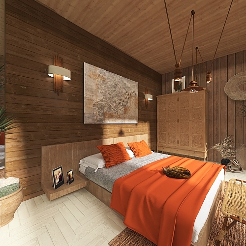 house in the woods Interior Design Render