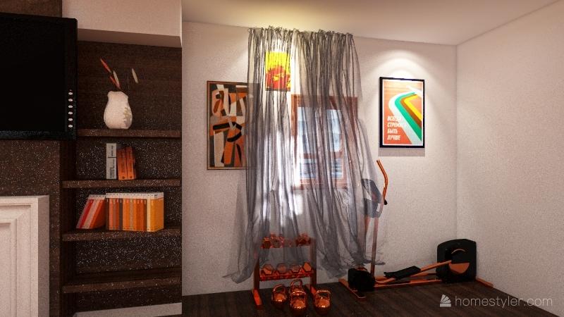 orange themed house Interior Design Render