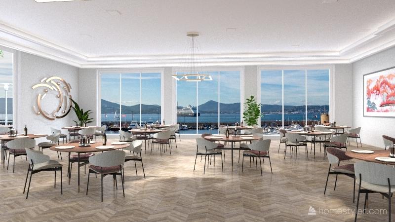 European restaurant Interior Design Render