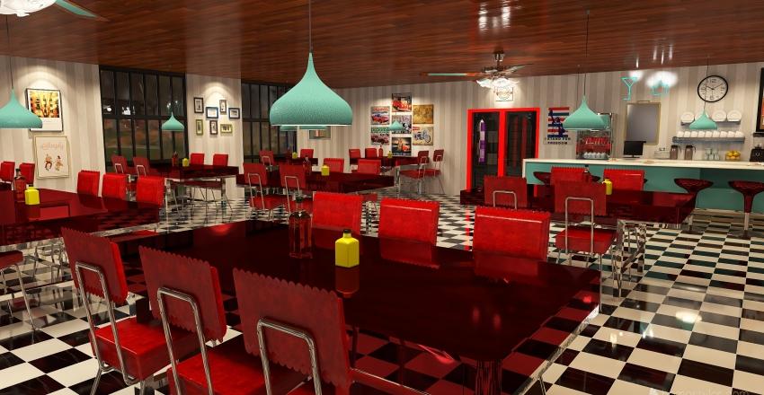 Time Travel 1950's Rock and Roll Diner Interior Design Render