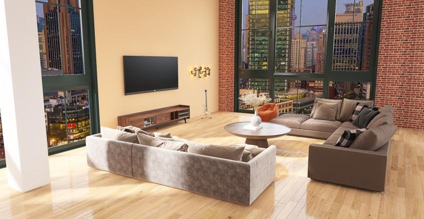 warm NYC loft Interior Design Render