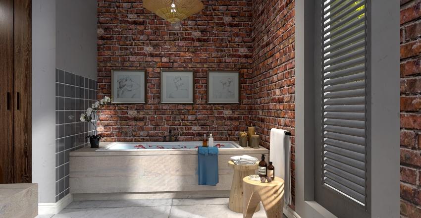 Earthy brick and concrete. Interior Design Render