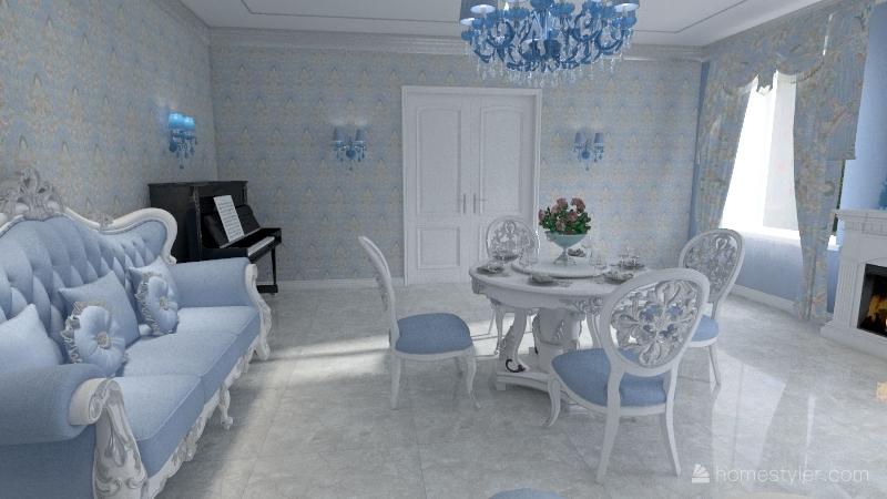 классика голубая Interior Design Render