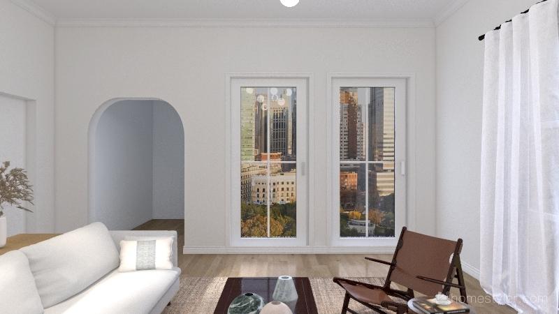 Mid-Century Modern Living Room Interior Design Render