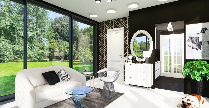 Modern Minimalist Tiny House with Black and White Interior Interior Design Render