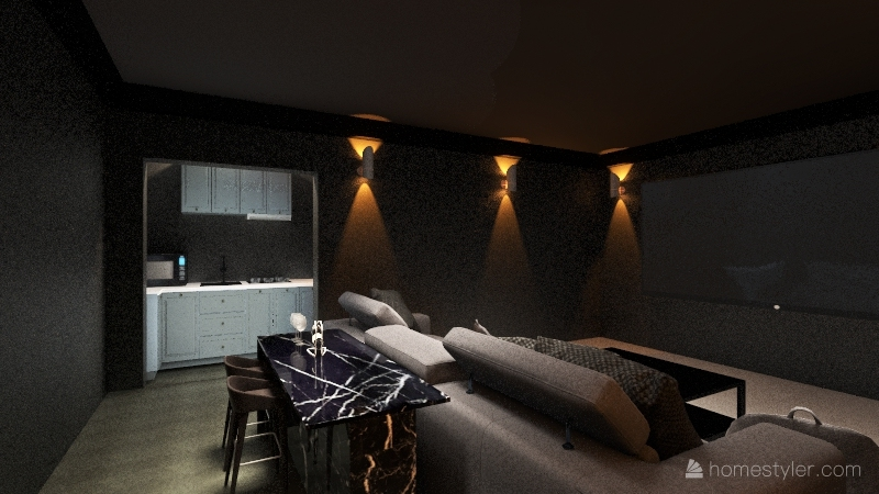 Home Theatre special purpose room Interior Design Render