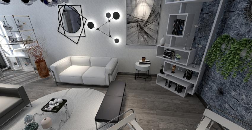 black white...um triplex... Interior Design Render