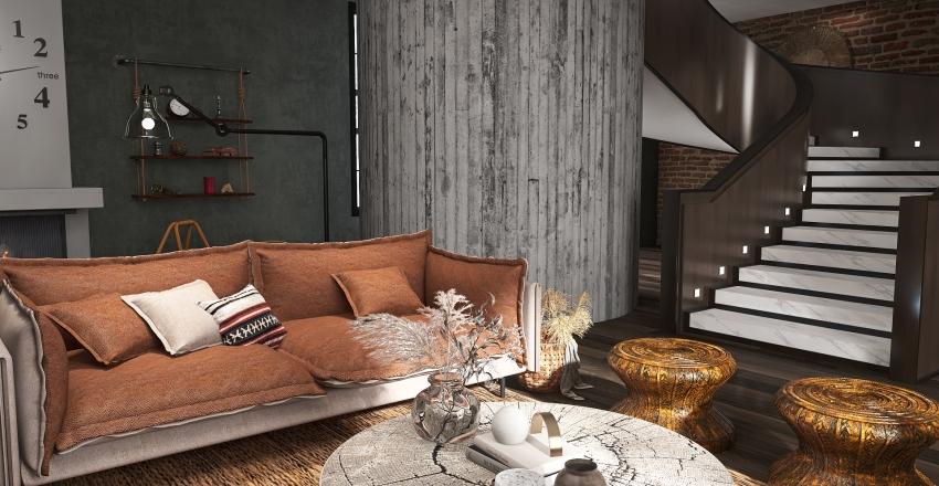 Earthy Rustic Industrial Interior Design Render