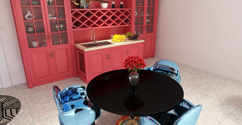 Colored House Interior Design Render