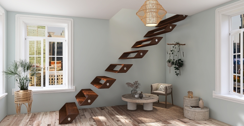 Earthy Tones Bohemian Interior Design Render