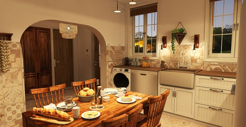 House style in the French countryside Interior Design Render
