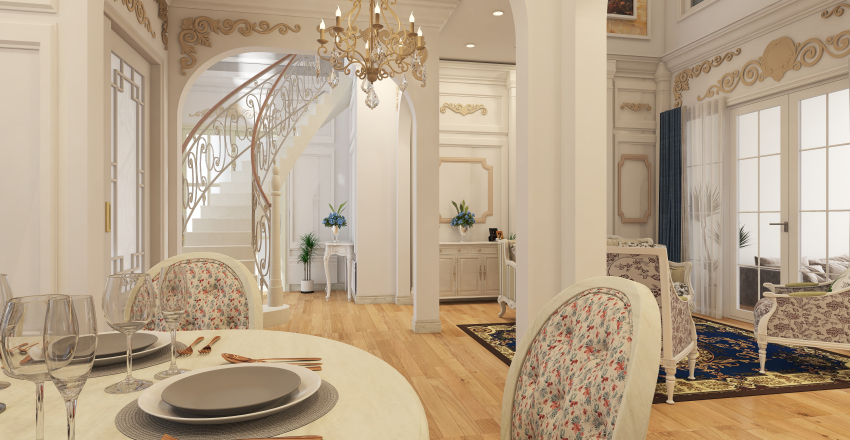 Le Chateau des  Caraïbes -French Country &Classic Carribean Interior Design Render