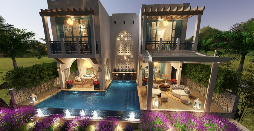 Beach House somewhere in the Persian Gulf Interior Design Render
