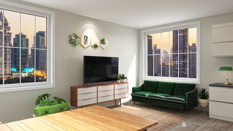 green tinyhome Interior Design Render