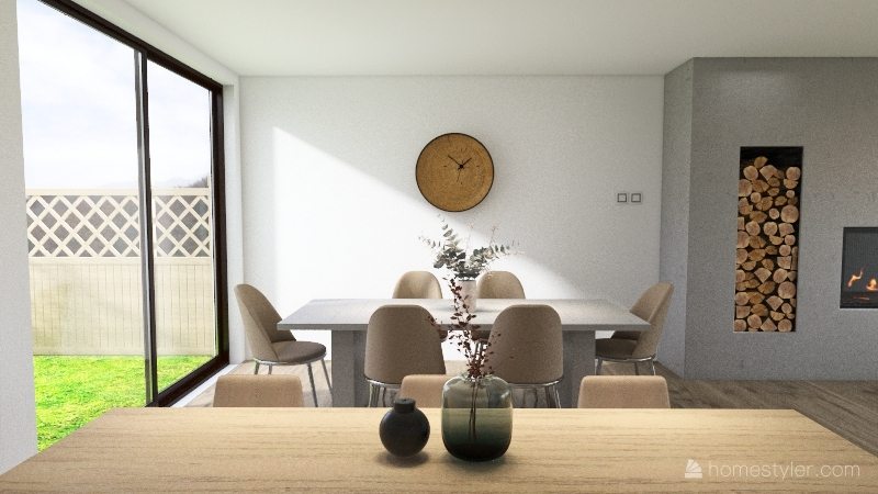 Concrete themed kitchen and dining room Interior Design Render