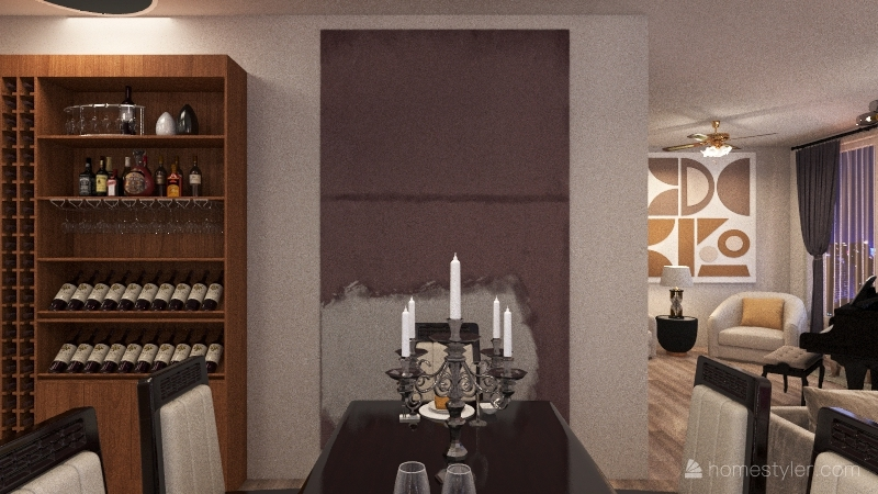 one bedroom apartment Interior Design Render