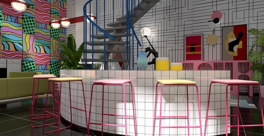 Memphis inspired apartment Interior Design Render