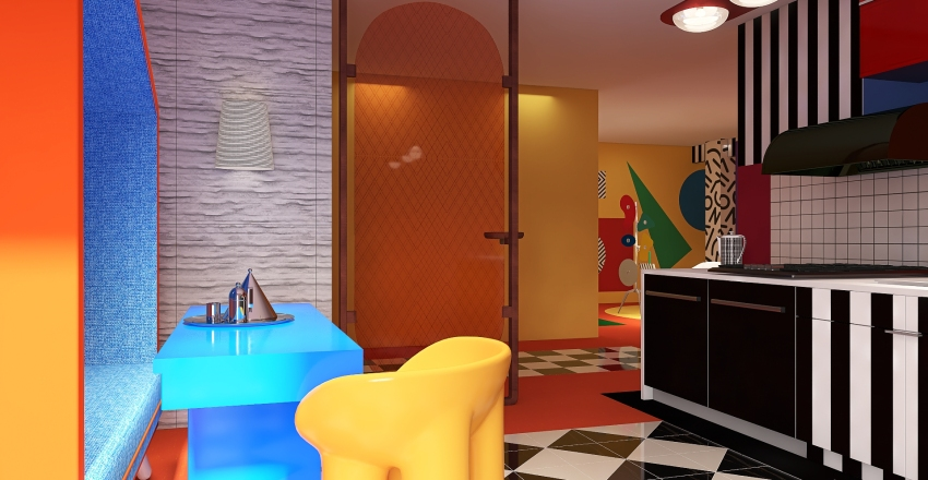 Memphis Mood Interior Design Render