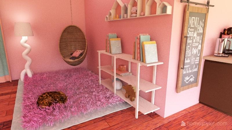 Pastel Cat Café Interior Design Render